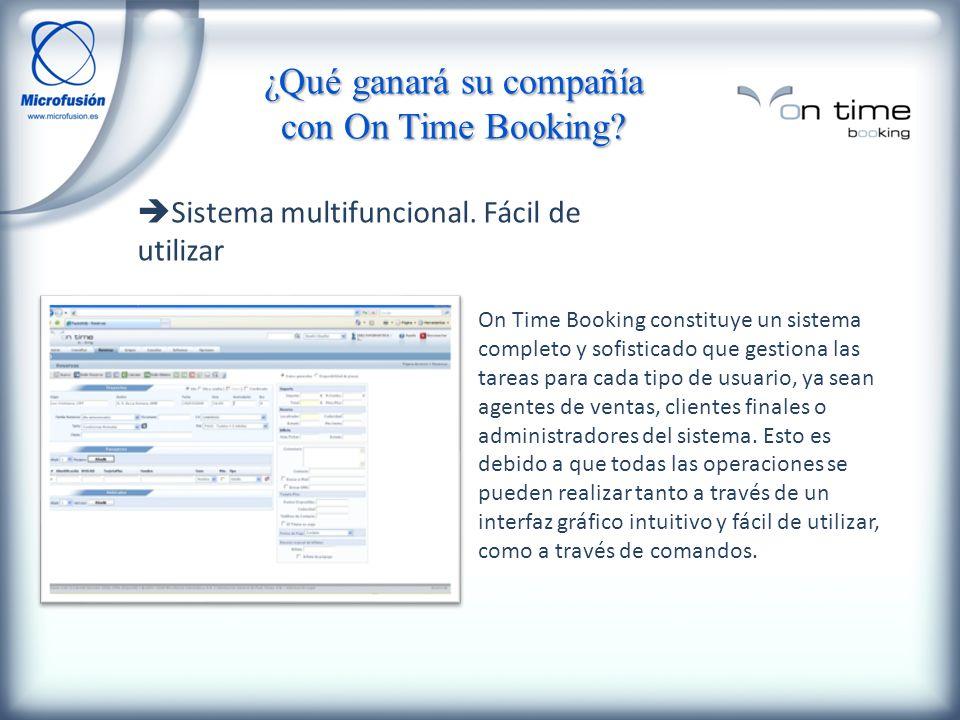 Sistema multifuncional. Fácil de utilizar On Time Booking constituye un sistema completo y sofisticado que gestiona las tareas para cada tipo de usuar