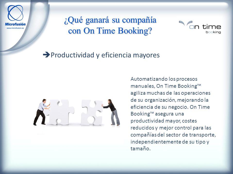 Productividad y eficiencia mayores Automatizando los procesos manuales, On Time Booking agiliza muchas de las operaciones de su organización, mejorando la eficiencia de su negocio.