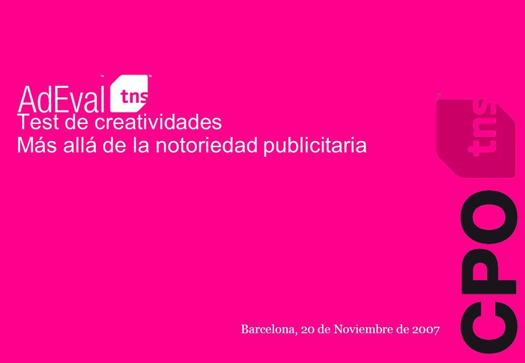 Test de creatividades Más allá de la notoriedad publicitaria Barcelona, 20 de Noviembre de 2007