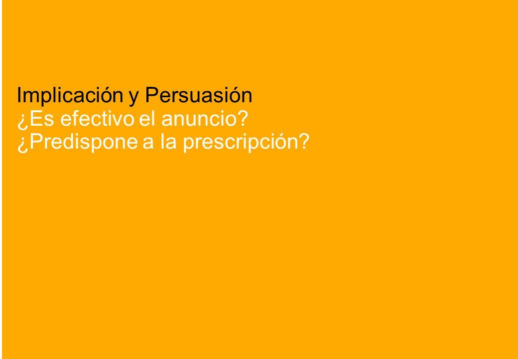 14 Implicación y Persuasión ¿Es efectivo el anuncio? ¿Predispone a la prescripción?