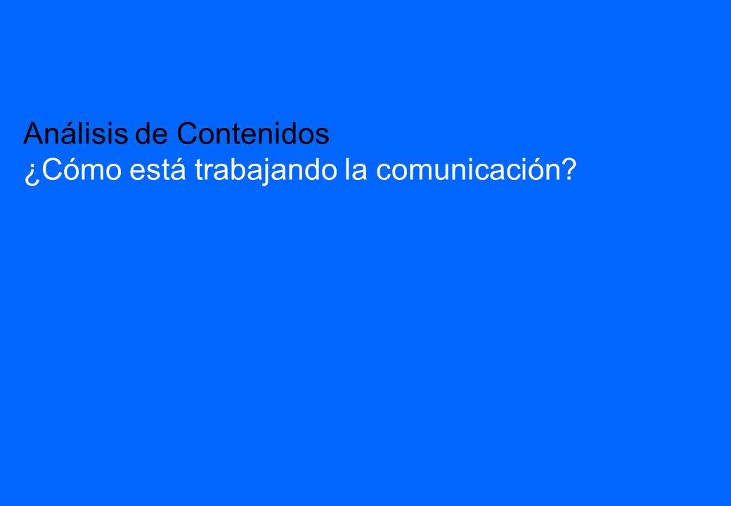 20 Análisis de Contenidos ¿Cómo está trabajando la comunicación?