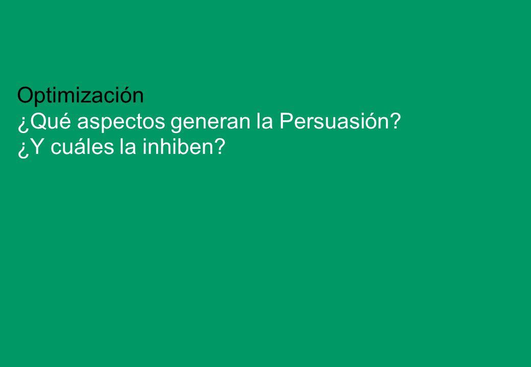 22 Optimización ¿Qué aspectos generan la Persuasión? ¿Y cuáles la inhiben?