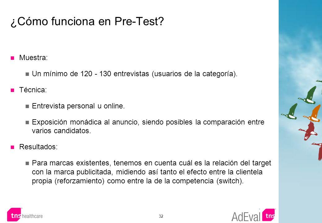 32 ¿Cómo funciona en Pre-Test? Muestra: Un mínimo de 120 - 130 entrevistas (usuarios de la categoría). Técnica: Entrevista personal u online. Exposici