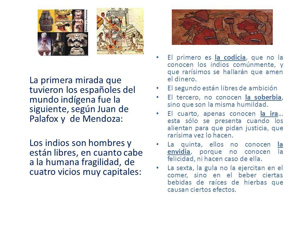 La primera mirada que tuvieron los españoles del mundo indígena fue la siguiente, según Juan de Palafox y de Mendoza: Los indios son hombres y están l