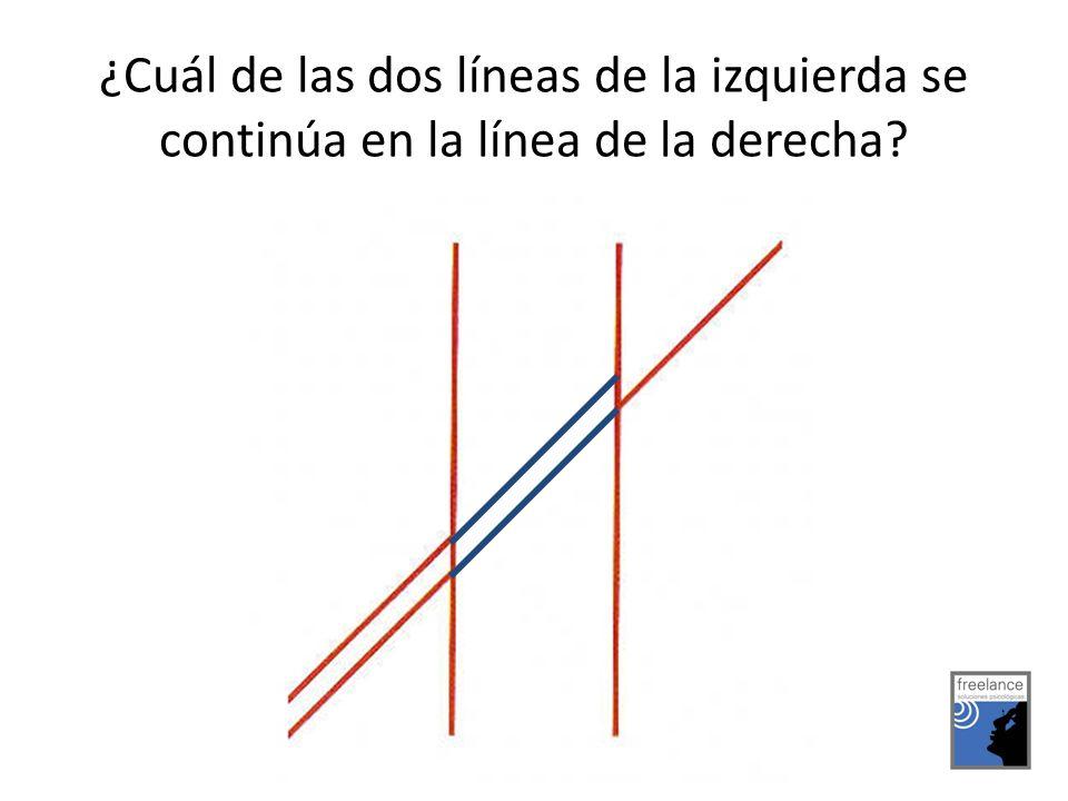 ¿Cuál de las dos líneas de la izquierda se continúa en la línea de la derecha?