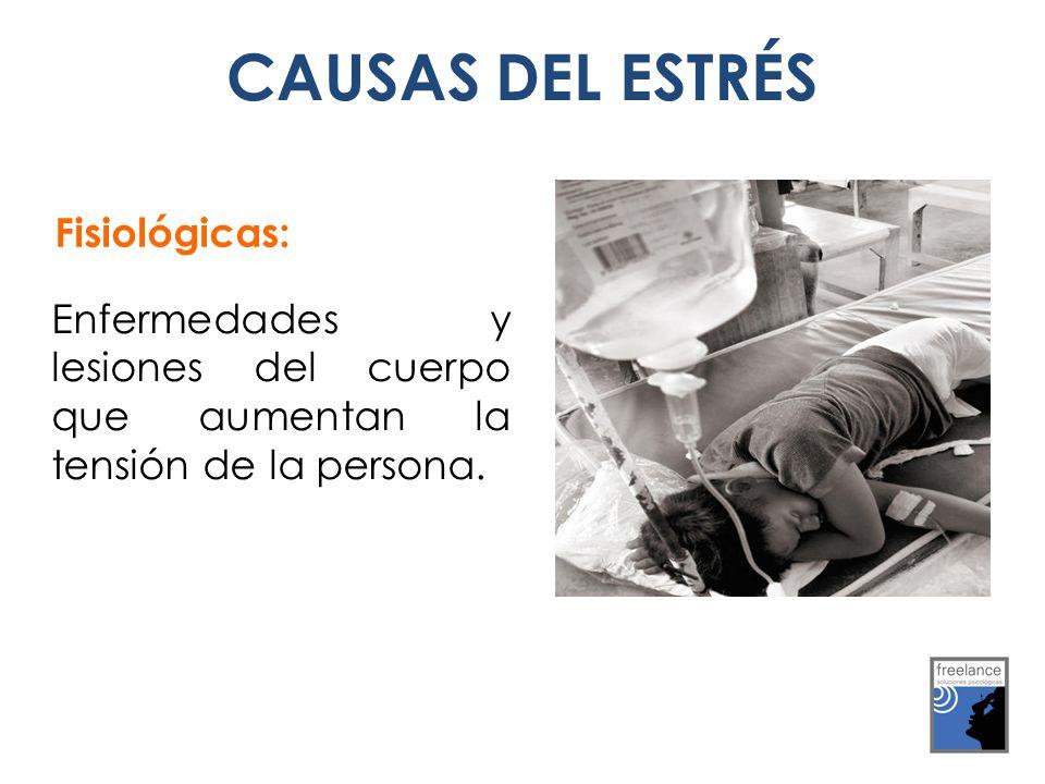 Fisiológicas: Enfermedades y lesiones del cuerpo que aumentan la tensión de la persona. CAUSAS DEL ESTRÉS
