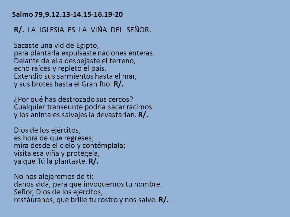 Salmo 79,9.12.13-14.15-16.19-20 R/. LA IGLESIA ES LA VIÑA DEL SEÑOR. Sacaste una vid de Egipto, para plantarla expulsaste naciones enteras. Delante de