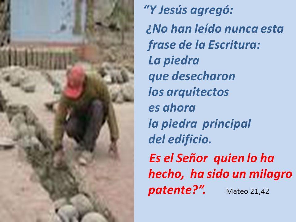 Y Jesús agregó: ¿No han leído nunca esta frase de la Escritura: La piedra que desecharon los arquitectos es ahora la piedra principal del edificio. Es