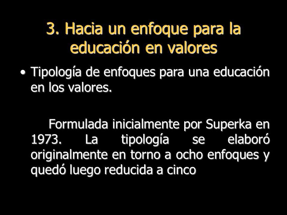 Tipología de enfoques para una educación en los valores.Tipología de enfoques para una educación en los valores.