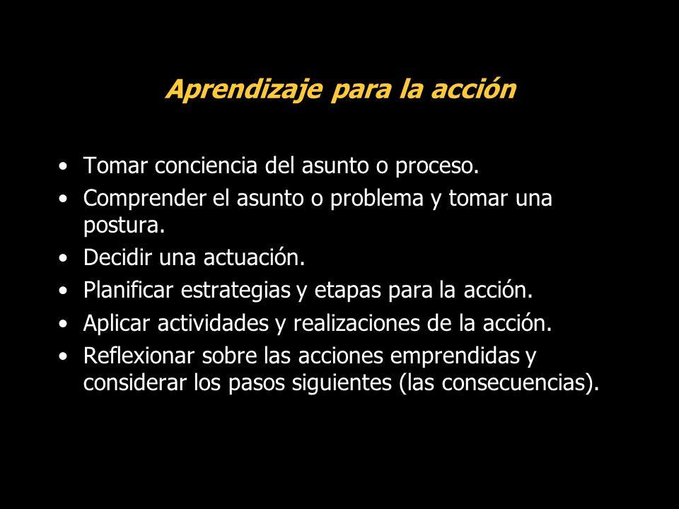 Aprendizaje para la acción Tomar conciencia del asunto o proceso.