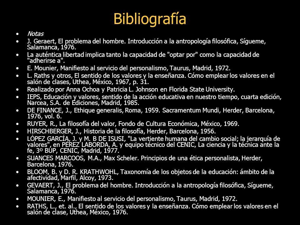 Bibliografía Notas J.Geraert, El problema del hombre.