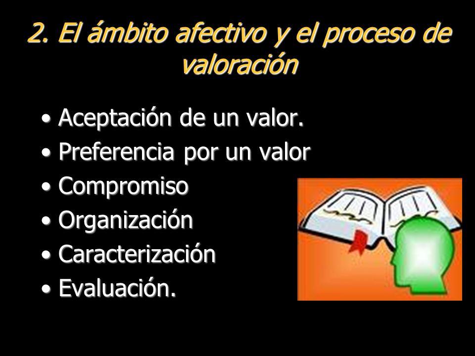 2.El ámbito afectivo y el proceso de valoración Aceptación de un valor.Aceptación de un valor.