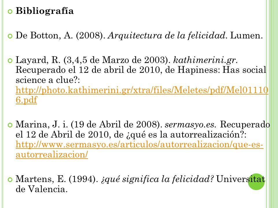 Bibliografía De Botton, A. (2008). Arquitectura de la felicidad. Lumen. Layard, R. (3,4,5 de Marzo de 2003). kathimerini.gr. Recuperado el 12 de abril