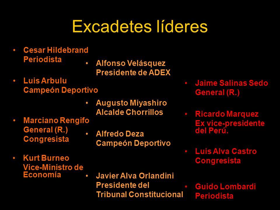 Excadetes líderes Cesar Hildebrand Periodista Jaime Salinas Sedo General (R.) Alfonso Velásquez Presidente de ADEX Marciano Rengifo General (R.) Congr