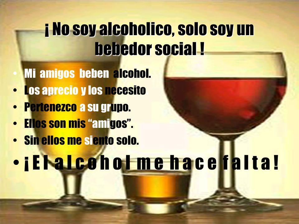 ¡ No soy alcoholico, solo soy un bebedor social .Mi amigos beben alcohol.