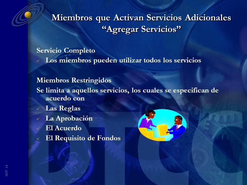 5877- 14 Miembros que Activan Servicios Adicionales Agregar Servicios Servicio Completo Los miembros pueden utilizar todos los servicios Miembros Restringidos Se limita a aquellos servicios, los cuales se especifican de acuerdo con Las Reglas La Aprobación El Acuerdo El Requisito de Fondos