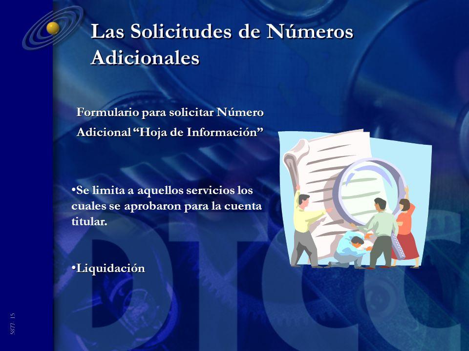 5877- 15 Las Solicitudes de Números Adicionales Formulario para solicitar Número Adicional Hoja de Información Se limita a aquellos servicios los cual