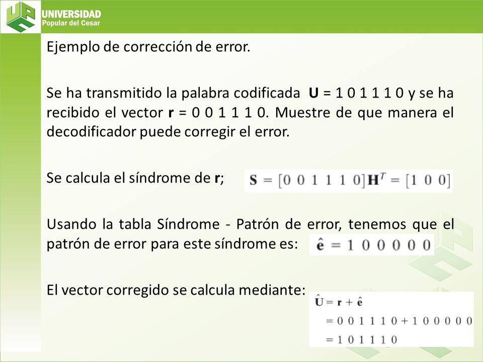 Ejemplo de corrección de error. Se ha transmitido la palabra codificada U = 1 0 1 1 1 0 y se ha recibido el vector r = 0 0 1 1 1 0. Muestre de que man