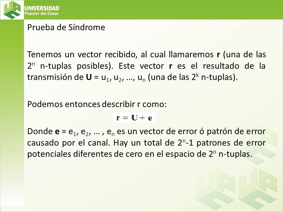 Prueba de Síndrome Tenemos un vector recibido, al cual llamaremos r (una de las 2 n n-tuplas posibles). Este vector r es el resultado de la transmisió