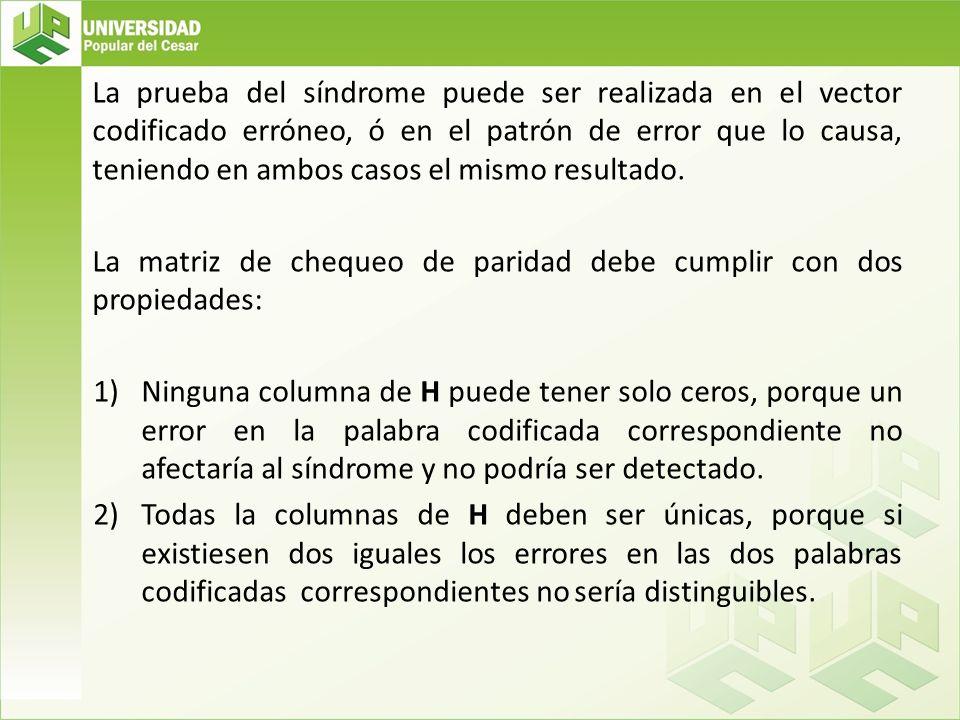 La prueba del síndrome puede ser realizada en el vector codificado erróneo, ó en el patrón de error que lo causa, teniendo en ambos casos el mismo res