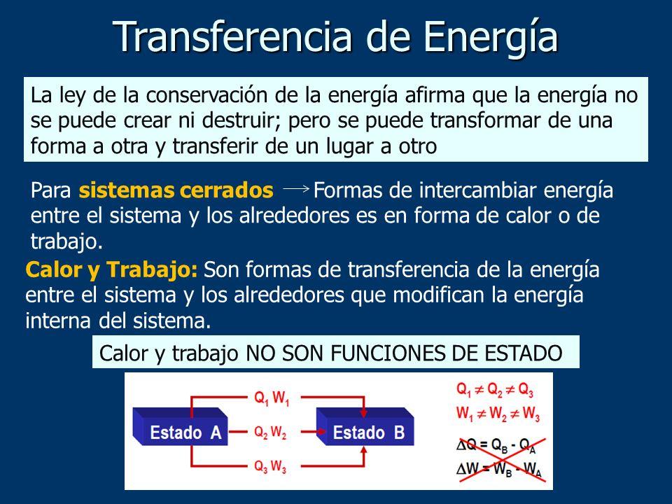 Para sistemas cerrados Formas de intercambiar energía entre el sistema y los alrededores es en forma de calor o de trabajo. Calor y Trabajo: Son forma