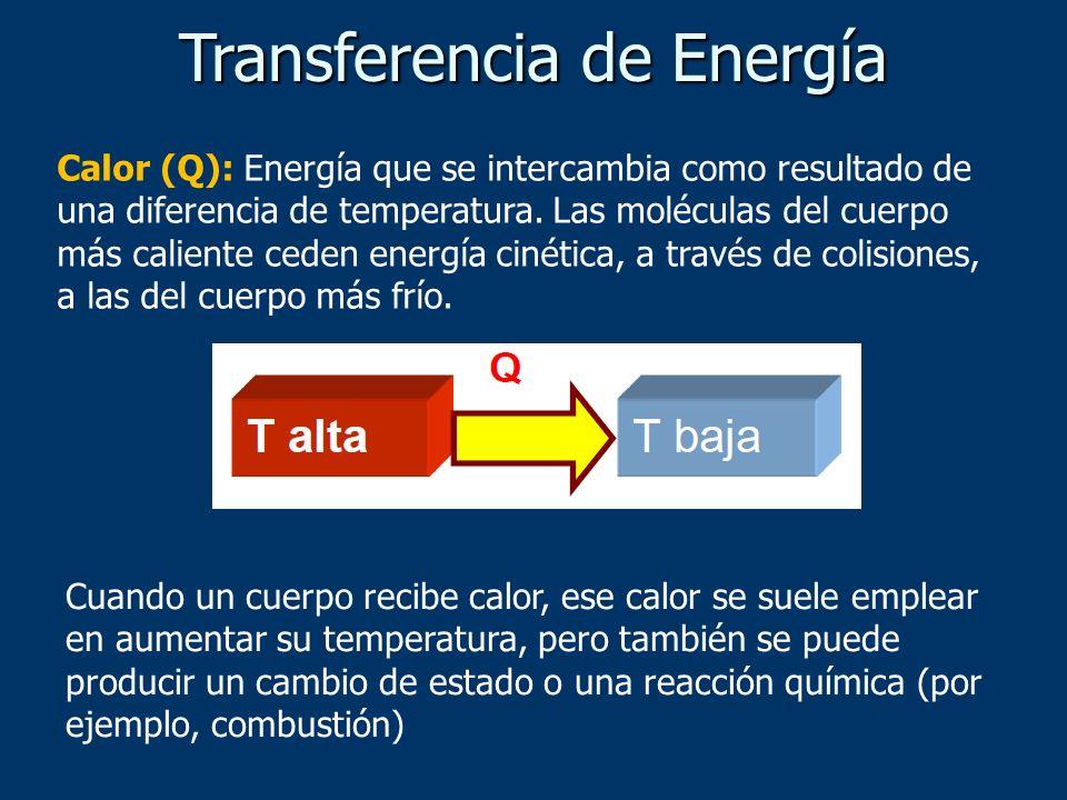 Calor (Q): Energía que se intercambia como resultado de una diferencia de temperatura. Las moléculas del cuerpo más caliente ceden energía cinética, a