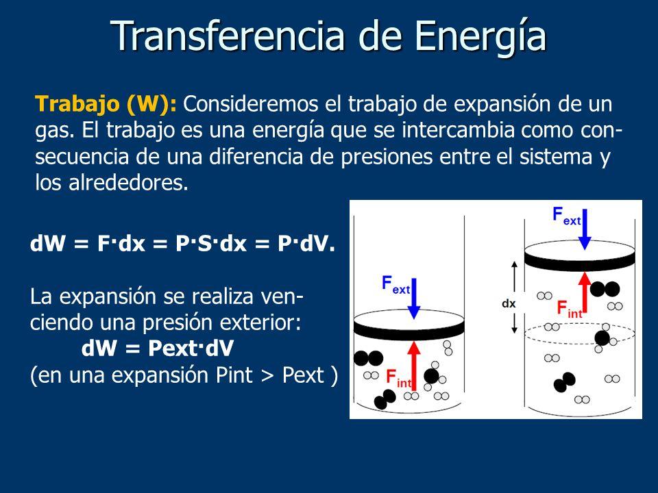 Trabajo (W): Consideremos el trabajo de expansión de un gas. El trabajo es una energía que se intercambia como con- secuencia de una diferencia de pre
