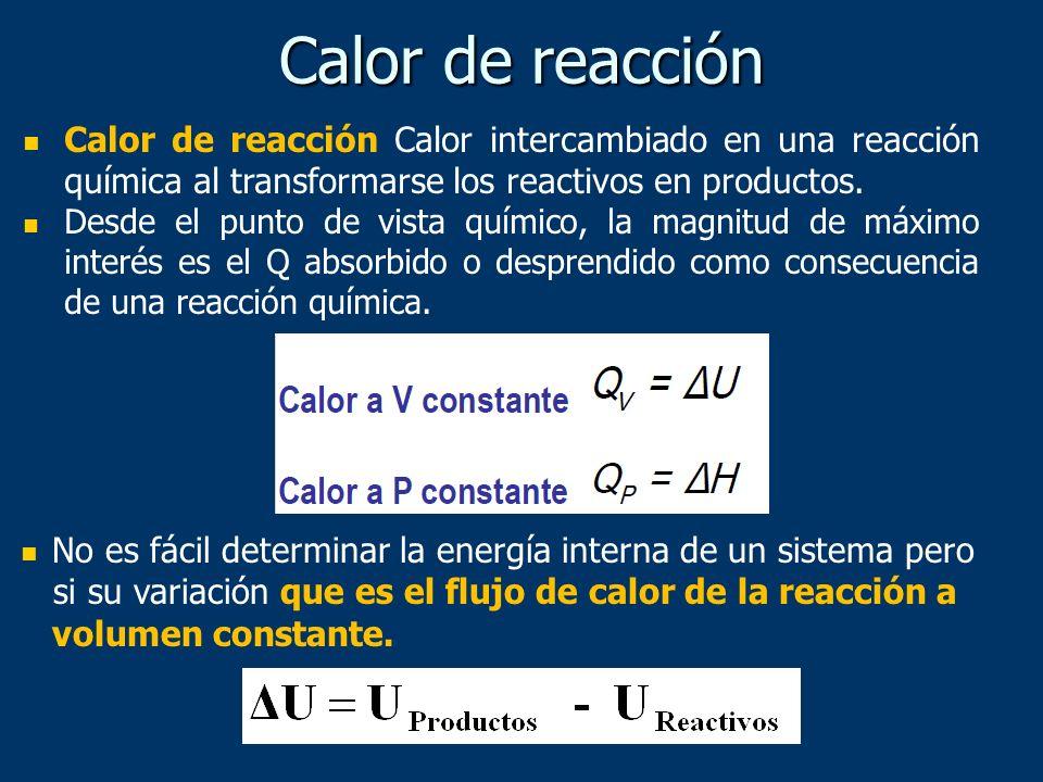 Calor de reacción Calor intercambiado en una reacción química al transformarse los reactivos en productos. Desde el punto de vista químico, la magnitu