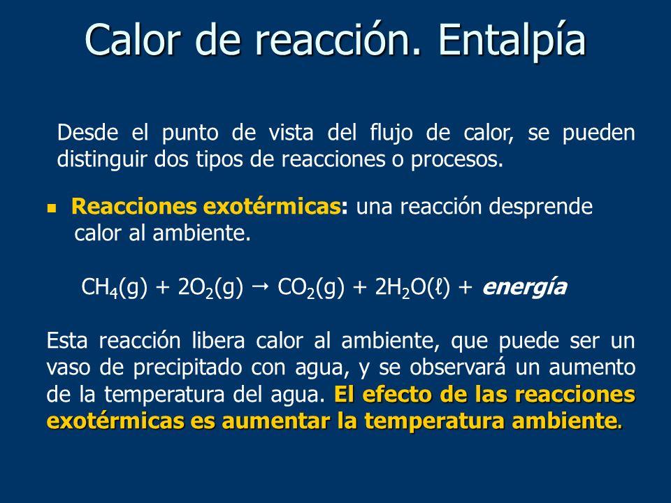 Calor de reacción. Entalpía Reacciones exotérmicas: una reacción desprende calor al ambiente. CH 4 (g) + 2O 2 (g) CO 2 (g) + 2H 2 O() + energía El efe