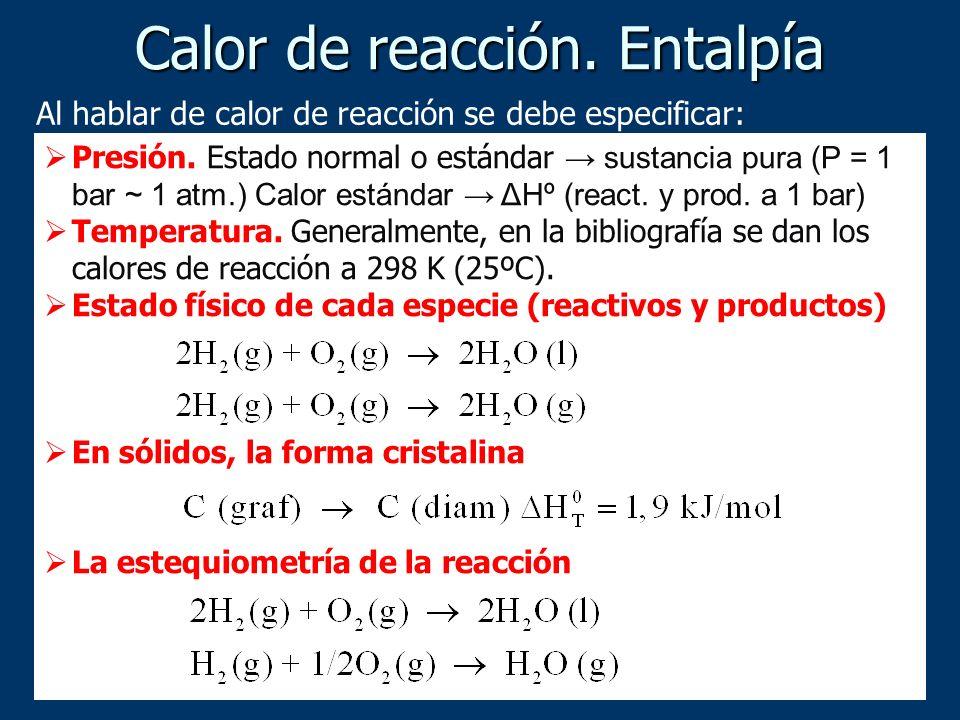 Al hablar de calor de reacción se debe especificar: Presión. Estado normal o estándar sustancia pura (P = 1 bar ~ 1 atm.) Calor estándar ΔHº (react. y