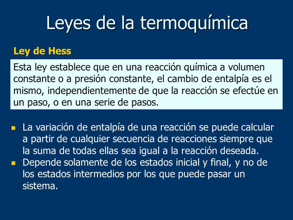 Leyes de la termoquímica Ley de Hess La variación de entalpía de una reacción se puede calcular a partir de cualquier secuencia de reacciones siempre