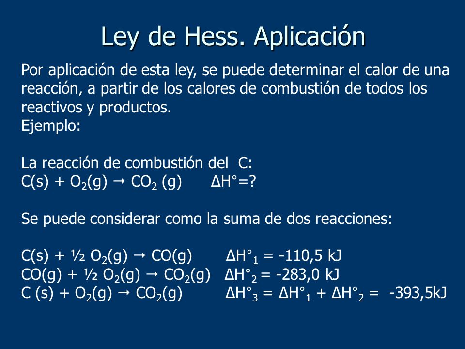 Por aplicación de esta ley, se puede determinar el calor de una reacción, a partir de los calores de combustión de todos los reactivos y productos. Ej