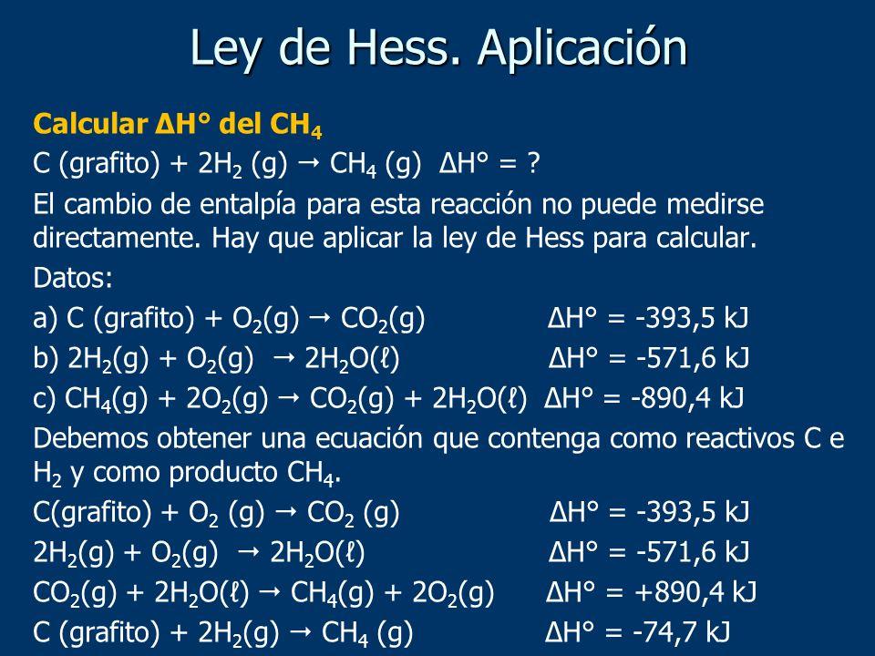 Calcular ΔH° del CH 4 C (grafito) + 2H 2 (g) CH 4 (g) ΔH° = ? El cambio de entalpía para esta reacción no puede medirse directamente. Hay que aplicar