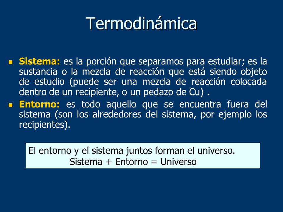 Termodinámica Sistema: es la porción que separamos para estudiar; es la sustancia o la mezcla de reacción que está siendo objeto de estudio (puede ser