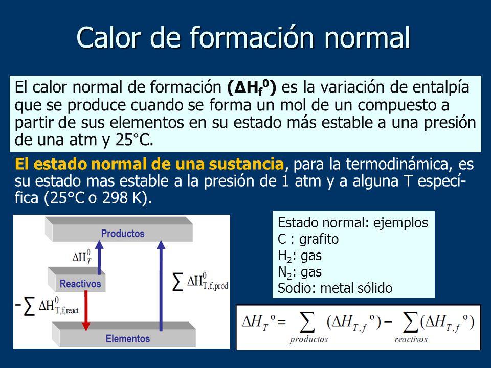 Calor de formación normal El estado normal de una sustancia, para la termodinámica, es su estado mas estable a la presión de 1 atm y a alguna T especí
