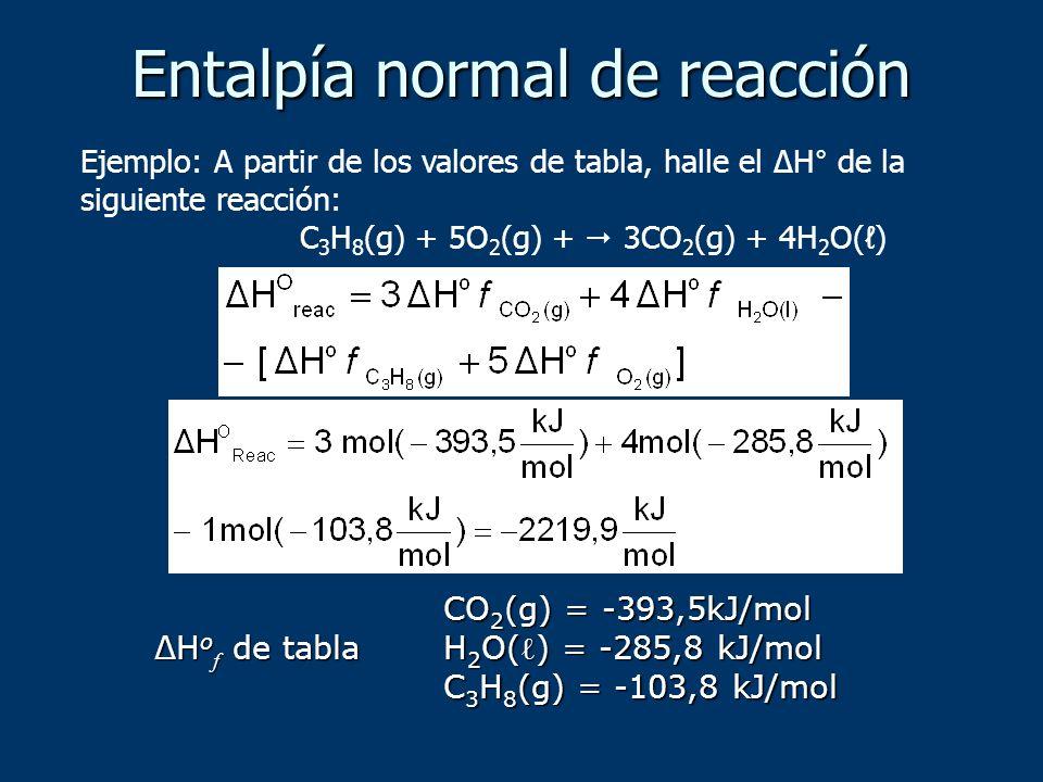Ejemplo: A partir de los valores de tabla, halle el ΔH° de la siguiente reacción: C 3 H 8 (g) + 5O 2 (g) + 3CO 2 (g) + 4H 2 O() ΔH o f de tabla CO 2 (