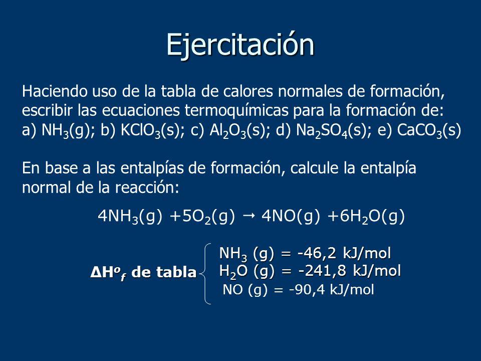 Haciendo uso de la tabla de calores normales de formación, escribir las ecuaciones termoquímicas para la formación de: a) NH 3 (g); b) KClO 3 (s); c)