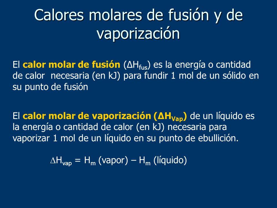Calores molares de fusión y de vaporización El calor molar de fusión (ΔH fus ) es la energía o cantidad de calor necesaria (en kJ) para fundir 1 mol d