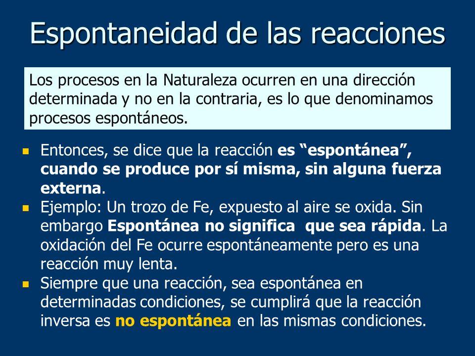 Espontaneidad de las reacciones Entonces, se dice que la reacción es espontánea, cuando se produce por sí misma, sin alguna fuerza externa. Ejemplo: U