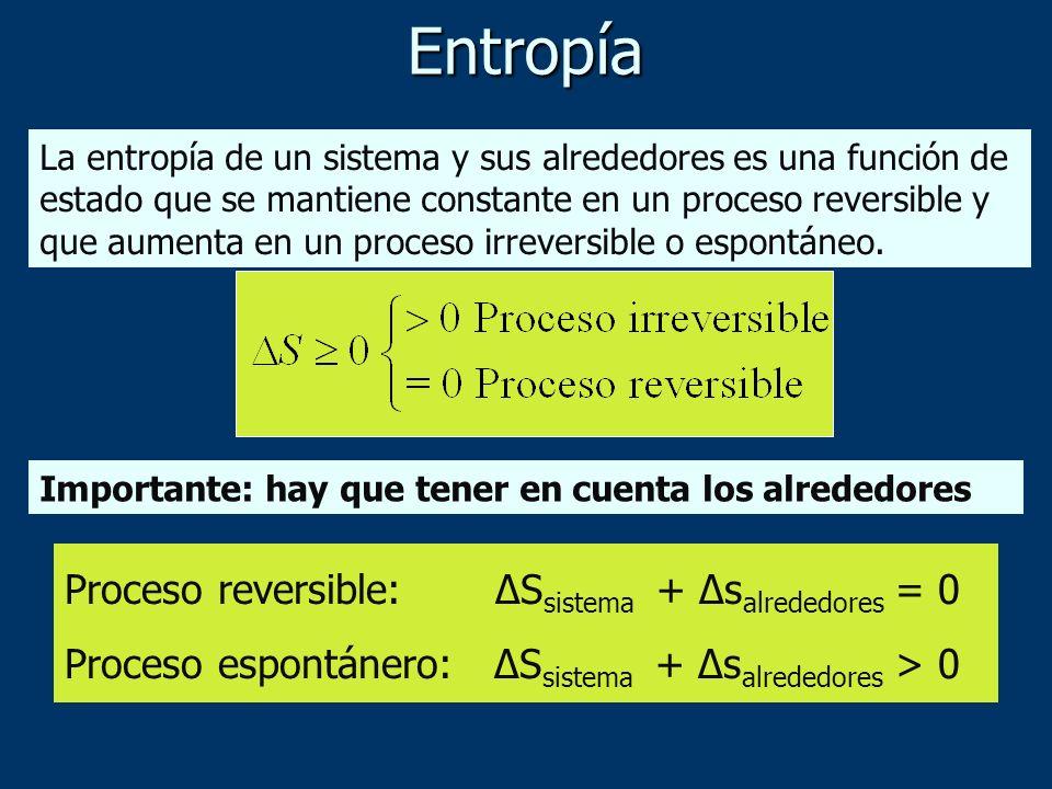 Entropía La entropía de un sistema y sus alrededores es una función de estado que se mantiene constante en un proceso reversible y que aumenta en un p