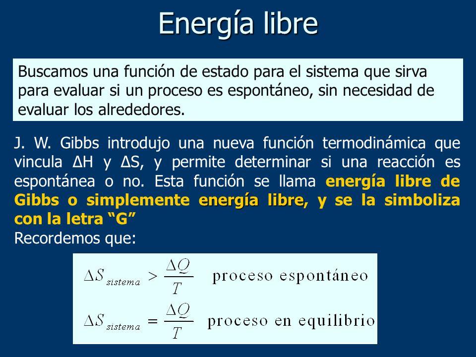 energía libre J. W. Gibbs introdujo una nueva función termodinámica que vincula ΔH y ΔS, y permite determinar si una reacción es espontánea o no. Esta