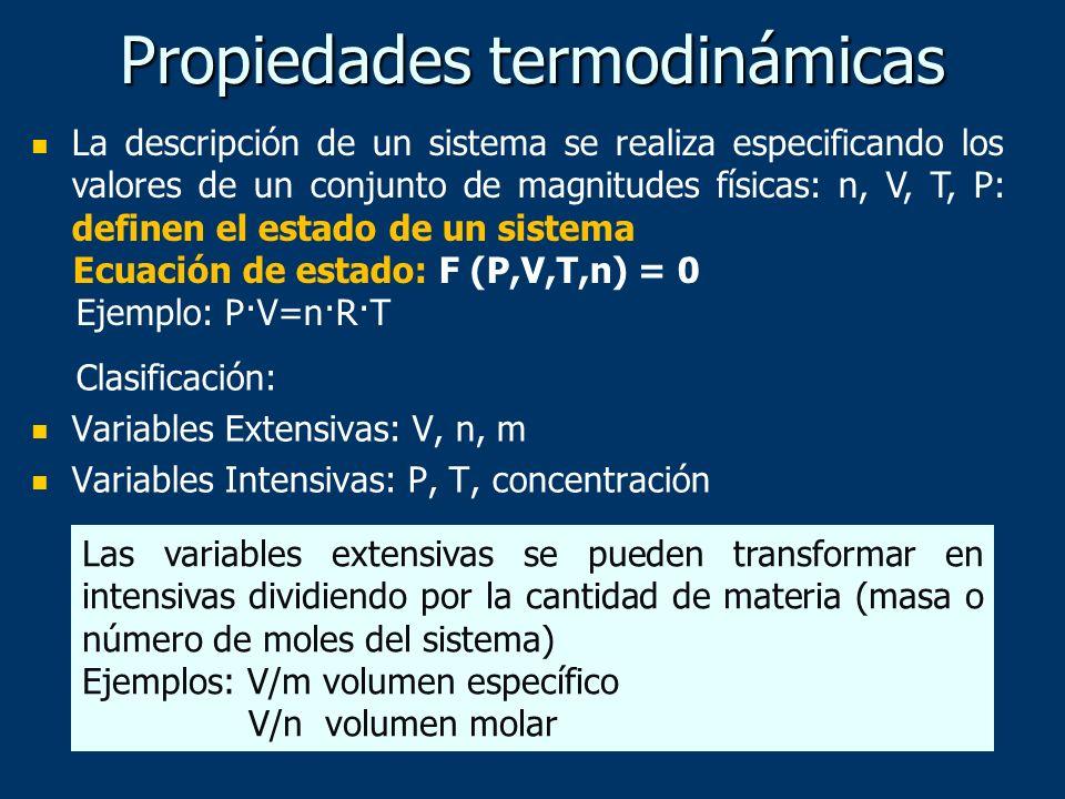 Propiedades termodinámicas La descripción de un sistema se realiza especificando los valores de un conjunto de magnitudes físicas: n, V, T, P: definen