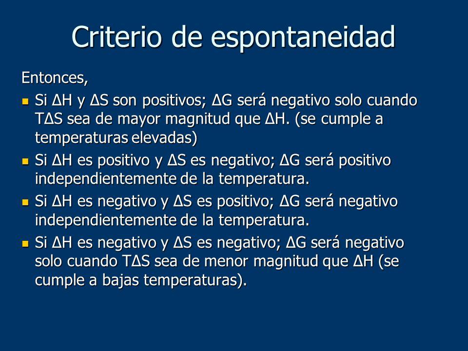 Criterio de espontaneidad Entonces, Si ΔH y ΔS son positivos; ΔG será negativo solo cuando TΔS sea de mayor magnitud que ΔH. (se cumple a temperaturas