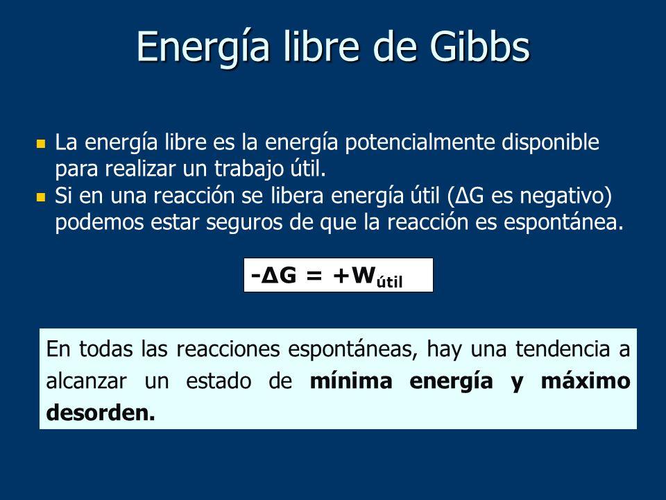 La energía libre es la energía potencialmente disponible para realizar un trabajo útil. Si en una reacción se libera energía útil (ΔG es negativo) pod