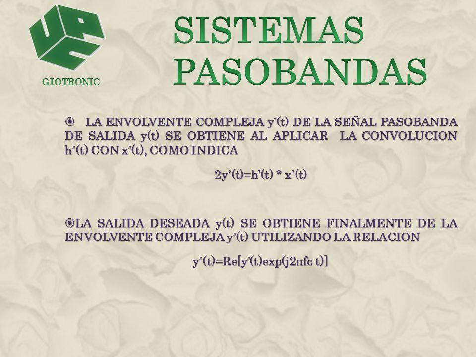 LA ENVOLVENTE COMPLEJA y(t) DE LA SEÑAL PASOBANDA DE SALIDA y(t) SE OBTIENE AL APLICAR LA CONVOLUCION h(t) CON x(t), COMO INDICA LA ENVOLVENTE COMPLEJ