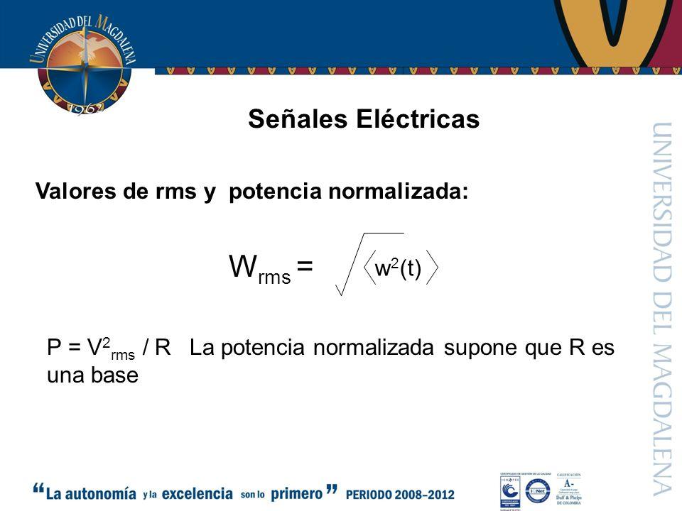 Señales Eléctricas Valores de rms y potencia normalizada: w 2 (t) W rms = P = V 2 rms / R La potencia normalizada supone que R es una base