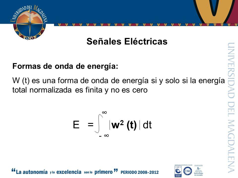 Señales Eléctricas Formas de onda de energía: W (t) es una forma de onda de energía si y solo si la energía total normalizada es finita y no es cero = w 2 (t) dt E -