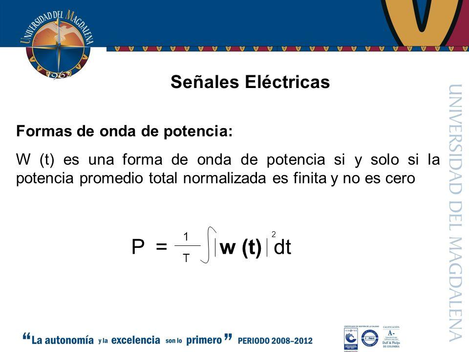 Señales Eléctricas Formas de onda de potencia: W (t) es una forma de onda de potencia si y solo si la potencia promedio total normalizada es finita y no es cero = w (t) dtP 2 1T1T