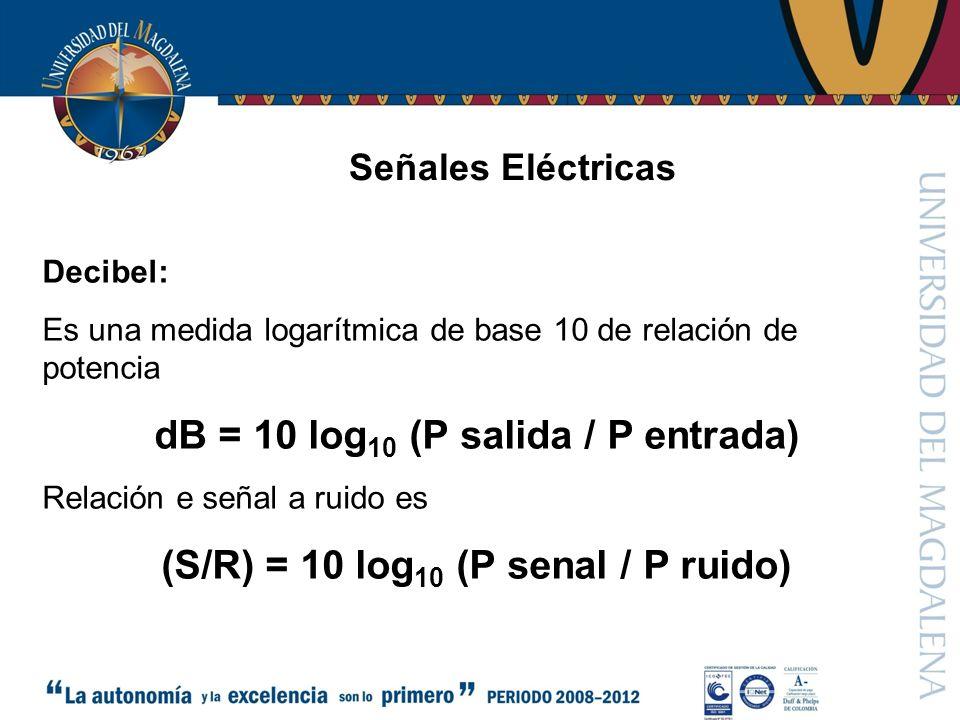 Señales Eléctricas Decibel: Es una medida logarítmica de base 10 de relación de potencia dB = 10 log 10 (P salida / P entrada) Relación e señal a ruido es (S/R) = 10 log 10 (P senal / P ruido)