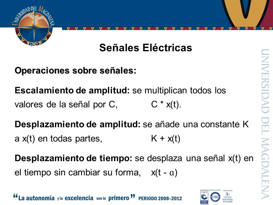 Señales Eléctricas Operaciones sobre señales: Escalamiento de amplitud: se multiplican todos los valores de la señal por C, C * x(t).